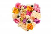 Heart Shaped Flower Bouquet Isolated On White