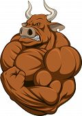stock photo of animal teeth  - Vector illustration of a strong bull with big biceps - JPG