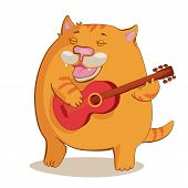 Red Cat Playing Guitar