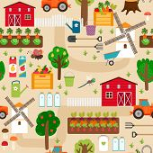 stock photo of farm landscape  - Farm seamless pattern with tractor and beds - JPG