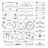 stock photo of ribbon decoration  - Set of hand drawn floral page elements - JPG