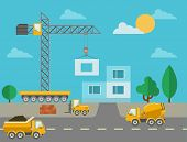 Постер, плакат: Construction process with construction machines and erected building