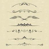 stock photo of scroll design  - set of design elements and ornamental vintage  decoration - JPG