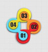foto of superimpose  - four colored circular abstract shapes superimposed on a circle - JPG