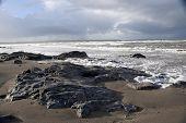 The Black Rocks On Ballybunion Beach