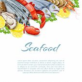 picture of salmon steak  - Seafood products background with salmon shrimp crab shellfish mollusk vector illustration - JPG