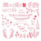 Hand-drawn Vector Set:  Design Elements, Label Collection With  Flowers, Ribbons, Cupcakes, Gift Box