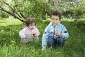 In The Spring On A Glade With Dandelions Sitting Small Curly Boy And Girl.