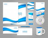 White corporate identity template with blue waves