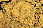 Golden Elephant And Lion In Thai Style Painting