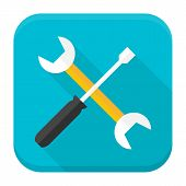 Wrench And Screwdriver App Icon With Long Shadow
