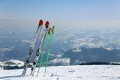 Skis in mountain Kopaonik in winter,  Serbia.