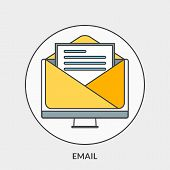 Flat Design Concept For Email. Vector Illustration For Web Banners And Promotional Materials