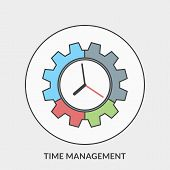 Flat Design Concept For Time Management. Vector Illustration For Web Banners And Promotional Materia