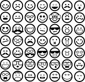 picture of emoticons  - A set of 49 simple emoticons displaying different emotions such as happy - JPG