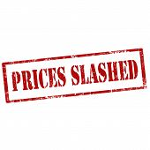 stock photo of slash  - Grunge rubber stamp with text Prices Slashed - JPG