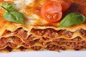 Tasty Lasagna Macro On A White Plate, Horizontal