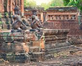 image of guardian  - Angkor Banteay Srei temple guardian statues - JPG