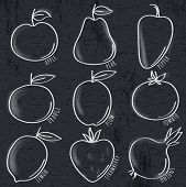 Set Of Organic Vegetable And Fruit On Blackboard, Vector