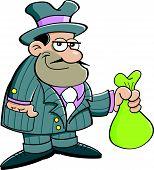 foto of gangster  - Cartoon illustration of a gangster holding a bag - JPG