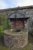 picture of wishing-well  - Wishing Well in Memorial Garden St George Priory Church Dunster Somerset - JPG