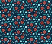 Seamless pattern of anchor, wheel, dolphins and sea stars.