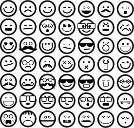 foto of emoticon  - A set of 49 simple emoticons displaying different emotions such as happy - JPG
