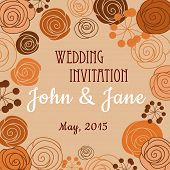 picture of buttercup  - Wedding invitation or card design template in brown orange pastel colors with floral border composed of stylized blooming roses - JPG