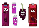 pic of packing  - Black currant juice cartoon characters with red and violet cardboard juice packs - JPG