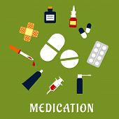 foto of blisters  - Medication flat concept with medicament drugs icons such as capsules and blister of pills - JPG