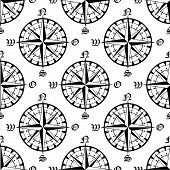 image of compasses  - Vintage navigation compass seamless pattern with repeated motif of black compass rose on white background - JPG
