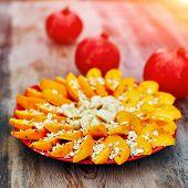 stock photo of oats  - Sliced fruits arrangement - JPG