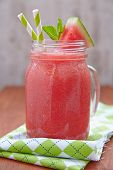 picture of masonic  - Freshness watermelon cocktail in a mason jar - JPG