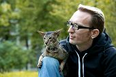 pic of lap  - cat sits on the man - JPG