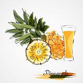foto of fruit-juice  - Hand drawn pineapple ripe fruit slice and juice on light background - JPG