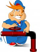 stock photo of overalls  - Plumber in blue overalls and red cap vector - JPG