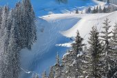 stock photo of bavarian alps  - freeride tracks in fresh powder snow bavarian alps - JPG