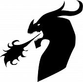 foto of dragon head  - Silhouette of a head of a dragon spewing flames - JPG