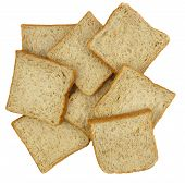 image of whole-wheat  - Top view of sliced whole wheat breads on white background - JPG