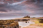 stock photo of tide  - Rocks leading to Bamburgh Castle from the beach at low tide in the warm light after sunrise - JPG