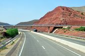 picture of atlas  - morocco highway outdoor view and atlas mountains landscape - JPG