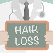 image of alopecia  - minimalistic illustration of a doctor holding a blackboard with Hair Loss text - JPG