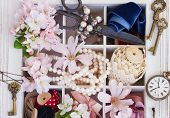 picture of mother-of-pearl  - embroidery vintage  accessories with fresh flowers and pearls - JPG