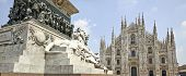 stock photo of piazza  - The statue at the Piazza del Duomo of Milan Italy - JPG