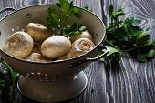foto of champignons  - Fresh white champignons in a colander on dark wooden table - JPG