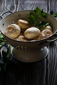 pic of champignons  - Fresh white champignons in a colander on dark wooden table - JPG