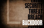 stock photo of taint  - Backdoor Entry Computer Security Threat and Protection - JPG