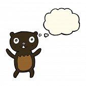foto of bear cub  - cartoon black bear cub with thought bubble - JPG