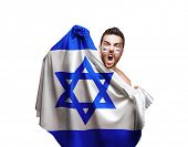 stock photo of israel people  - Fan holding the flag of Israel on white background - JPG