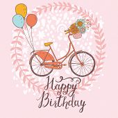 picture of tandem bicycle  - Happy birthday card in bright colors with tandem bicycle - JPG
